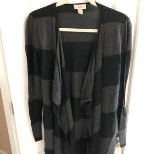 Loft Black Grey Striped Long Waterfall Cardigan